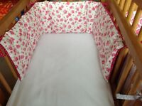 Cushi cots swing crib bumper girls Pink rose with cerise pink and white dot new