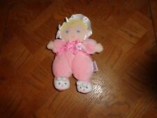 PRESTIGE SOFT BABY DOLL RATTLE  BLONDE HAIR HAT  BUNNY FEET  MY BEST FRIEND
