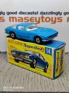 MATCHBOX Superfast No.14d Iso Grifo 1969 MIB wide Original Vintage Diecast (a)