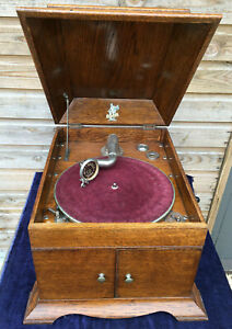 Antique APOLLO Wind Up Gramophone Oak Cabinet 78rpm Record Player c1920 Working