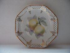 """Vintage Decorative Green Apple Schwarzenhammer Germany Pierced Edge Plate 8.5"""" D"""