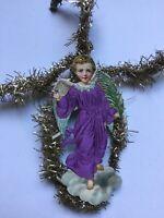 Antique Tinsel Die Cut Scrap Ornament Christmas Embossed Silk Cloud Angel