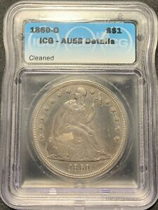 1860-O $1 Seated Liberty Dollar ICG AU-58 Details (cleaned)