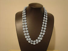 "Extra long 48"" sky blue bead necklace ""bumpy"" style half inch plastic beads"