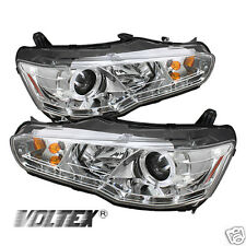 2008-2012 MITSUBISHI LANCER EVO 10 DRL LED PROJECTOR HEADLIGHTS LIGHTBAR CHROME