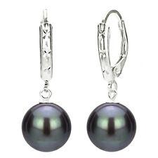 Sterling Silver 9-10mm Black Freshwater Pearl Design Lever-back Earrings