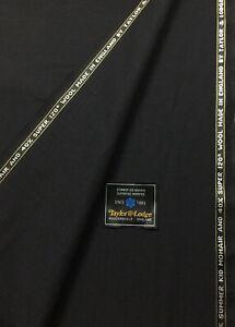 3.5 Metres Black Self Stripe Super 120s Wool & Summer Kid Mohair Suit Fabric