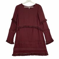 BNWT INDIKAH Women's Sz 8 Maroon Long Sleeve Round Neck Tassel Boho Shift Dress