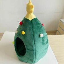 Christmas Tree Cat Bed with Soft Dark Interior Pet Cave Bed for Cats Rest Relax