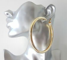 Gorgeous! HUGE! GOLD tone CHUNKY oversized PATTERNED shiny hoop earrings * NEW *