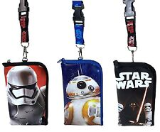 Licensed Disney Star Wars Lanyard ID Holder Purse Cute Design Set of 3