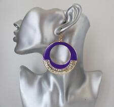 Gorgeous large purple & gold big round hoop / disc drop earrings, **NEW**  :C