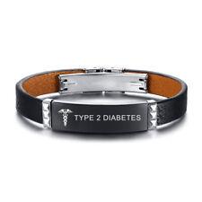 Wristband Engraved Type 2 Diabetes Medical Alert Genuine Leather Men Bracelet