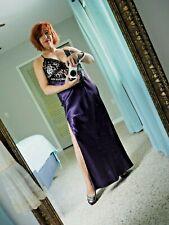 Dreamgirl Satin Nighty Plum & black Lace sequins Long Slit DRAMA size Large - XL