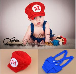 Newborn Baby Girl Boy Crochet Knit Super Mario Costume Photo Photography Prop