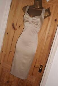 Phase Eight champagne gold pencil wiggle cocktail evening party dress size 10 12