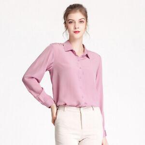 Natural Silk Shirt Women Long Sleeves Comfort Fit 100% Silk Crepe Blouse