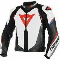 """MotoGP"" Super Speed Estiva White Black Fluo Red Motorbike Racing Leather Jacket"