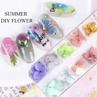 12 Colors Real Dry Dried Flowers 3D Nail Art Decorations Acrylic UV Gel DIY Hot