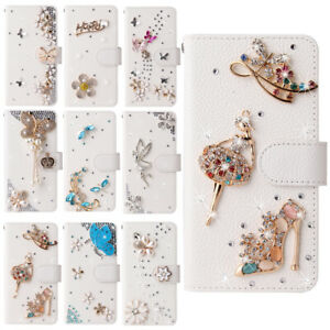 For iPhone 13 12 11 Pro XS Max XR 7 8 Bling Rhinestone Wallet Leather Case