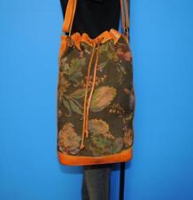 Vtg RALPH LAUREN Lrg Brown Leather Tapestry Crossbody Bucket Tote Purse Bag