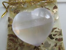 REIKI CHARGED SELENITE PUFF HEARTS with FREE ORGANZA BAG