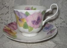 Vintage Porcelain Tea Cup & Saucer Set Pansy Pattern Roy Kirkham England Floral