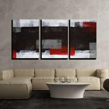 """Wall26 - Grey and Red Abstract Art Painting - Canvas Wall Art - 16""""x24""""x3 Panels"""