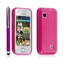 coque gel diamant pour Samsung Wave 575 S5750 couleur rose fushia + Stylet luxe