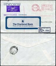 HONG KONG METER FRANKING REGISTERED AIRMAIL CHARTERED BANK 1976