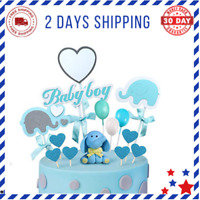 Blue Elephant Baby Shower Cake Topper Decoration for Baby Boy Elephant Theme