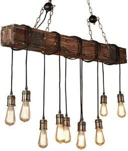 Eoyemin 10 Light Chandelier Wooden Retro Rustic Industrial Suspension Light