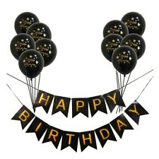 HAPPY BIRTHDAY Banners Gold Confetti Balloons Birthday Party Decorations Set New
