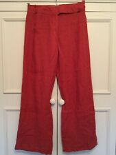 KALIKO. DUSKY RED COLOURED LINEN TROUSERS, SIZE 10.