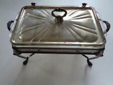 Vintage Sheridan Silver Plate Rectangular Chafing Dish 3 Qt Fire King Insert