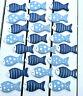 24 x Maritim Deko 4cm Fisch Holzfische Blau Tupfen Tischdekoration Klebepunkt