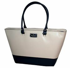 Kate Spade Wellesley Medium Harmony Leather Tote Handbag Porcelain / Navy NWT