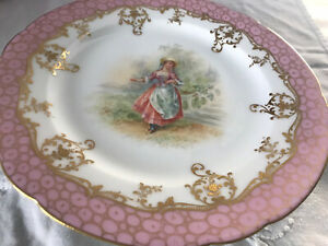 Antique Ambrosius Lamm Dresden Hand Painted Lady in Garden Great Cabinet Plate