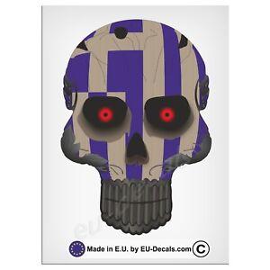 "120mm-4.7"" Robohead skull Greek flag red eyes Laminated Decal Sticker Vespa gts"