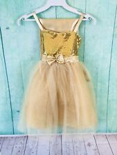 Sophia Young Design Calla Collection Gold Sequin Dress Girls Sz 6 With Sash