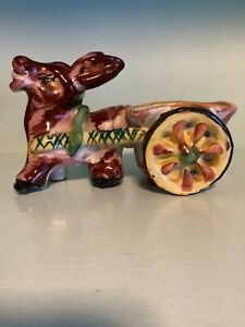 Handcrafted Colorful Italian Clay Donkey pulling cart planter small size vintage