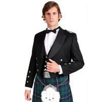 Mens Luxury Black Prince Charlie Kilt Jacket With Coatee Vest BNWT Wedding