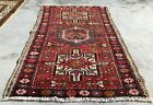 Distressed Hand Knotted Vintage Hareez Wool Area Rug 3.10 x 2.5 Ft (2530 KBN)
