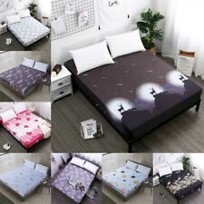 Printed Fitted Bed Sheet Polyester Fabric Bedding Cover King Queen Deep Pocket