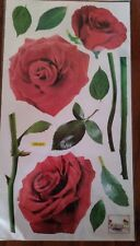 Decorative Wall Stickers 3 Red Roses Flower Floral Leave Stem *2 Sets=6 Roses