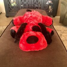 """Dandee Collectors Choice Red Black Floppy Dog Hearts On Body Valentine Plush 28"""""""