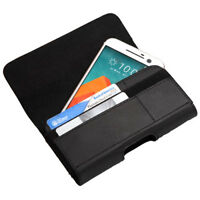 Leather Case Cover Pouch Flip Belt Clip for Universal Smart Phone w/ Card Slots