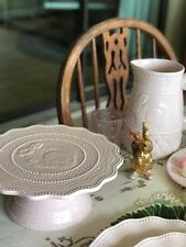 Arlington Easter Spring Pink Cake Plate Stand Embossed Bunny Rabbit Hobnail New!