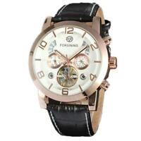 Men Automatic Mechanical Watch Waterproof Leather Business Wristwatch On Sale