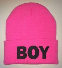 "Pink/Black TRENDY COOL HIP CUFFED ""BOY"" BEANIE Beanies HAT SKULL CAP"